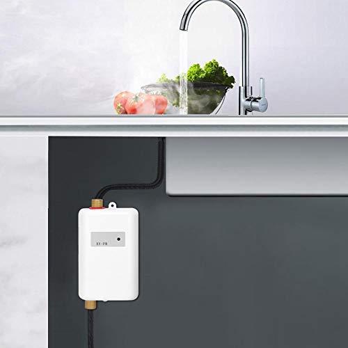 Nunafey Calentador de Agua instantáneo, Mini Calentador de Agua eléctrico Blanco con...