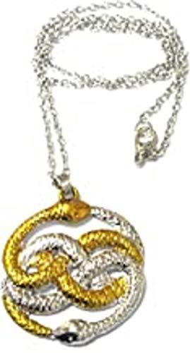 Collar con colgante de serpiente de oro de la historia que nunca termina con dos serpientes, Steampunk Auryn
