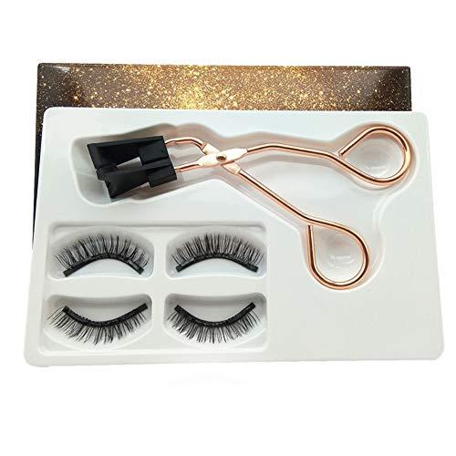 2 Paar magnetische falsche Wimpern, 3D-Set für künstliche Wimpern, wiederverwendbare natürliche Wimpern, Wimpernverlängerung mit Wimpernzange (Natural 2)