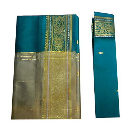 indischerbasar.de Brokat Sari beige petrolgrün Goldbrokat Indien Tracht Bindi Ohrhänger Wickelkleid Polyester