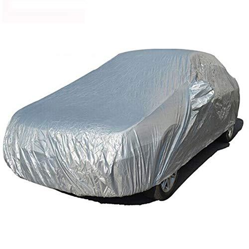 Shiwaki Wetterfeste Auto-Abdeckung, silberfarben, PKW Abdeckplane Auto Ganzgarage Schutzhülle Plane Autohülle UV-Schutz Autogarage Autohaube - M