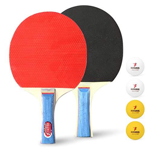 Lixada 2 Raquettes de Ping-Pong avec 4 Balles Raquettes de Ping-Pong Raquettes de Tennis de Table de Ping-Pong Ensemble de Raquettes de Ping-Pong Longues Accessoires de Formation Kit de Raquette