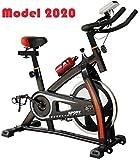 AMBM Bicicleta Spinning Indoor con Volante de inercia de 16kg, Cuadro de Acero con suspensión,...