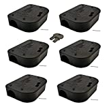 Exterminators Choice Black Bait Boxes | Includes Six Bait Stations and One Key | Bait Box to Control Mice and Other Pests