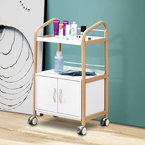 Jack Salon Trolleys KKYY 2 djur Supreme Medical Dental mobil försörjningsskåp och vagnar, förvaringsverktygsarrangör, metallram och träskiva med skåp – 50 x 35 x 83 cm