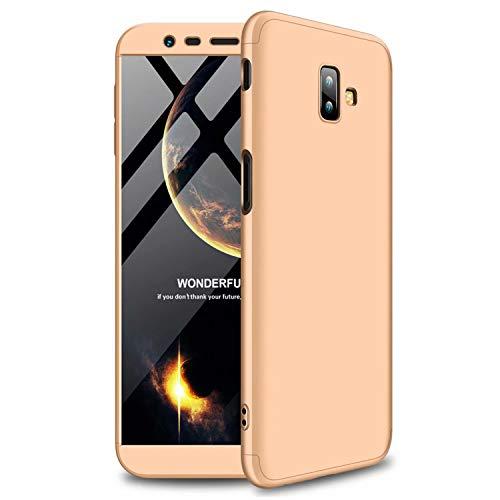 TXLING Custodia per Samsung Galaxy J6 Plus Cover 360°Copertura Protettiva Case PC Guscio Duro Anti Shock Anti-graffio Bumper Caso d'oro+ (1 Pezzi) Pellicola Protettiva