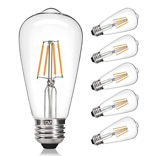 Vintage LED Edison Bulb, 4W, CMYK Edison Light Bulb 40W Equivalent, Dimmable LED Filament Bulb ST64, E26 Medium Base, Warm White 2200K, E26 Edison Bulb for Decorate Home, Clear Glass, Pack of 6
