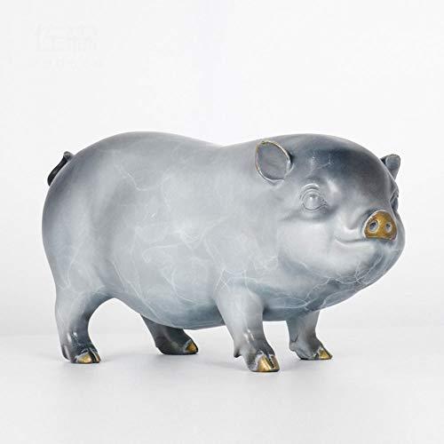 DAMAI STORE Cobre Cerdo Puesto Una Fortuna Mascota del Cerdo Año con El Pie De Regalos Red Craft Inicio Buena Suerte 240MM * 100MM * 130MM (Color : B)