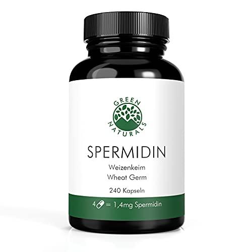 Spermidina 1,2mg da Estratto di germe di grano (240 capsule da 733mg) - TedescoProduzione - 100% vegana e senza additivi - dura per 2 mesi