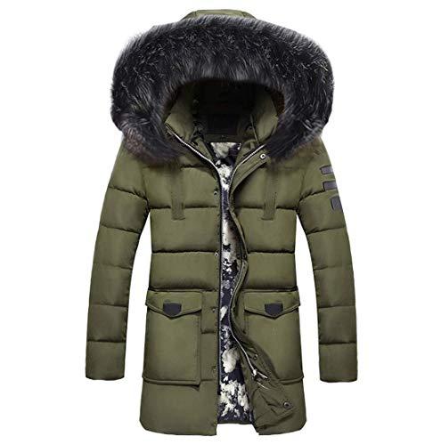 TIMOTHY BURCH Men's Winter Medium Length Zipper Thickened Hat Removable Cotton Outwear Coat Outwear Hat Parkas Jacket