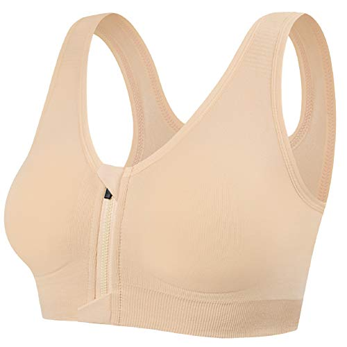 UMIPUBO Womens Zip Front Sports Bras Padded Seamless High Impact Support for Yoga Gym Fitness Stretch Crop Tops Vest Wirefree Post Surgery Bra with Removable Pads for Women