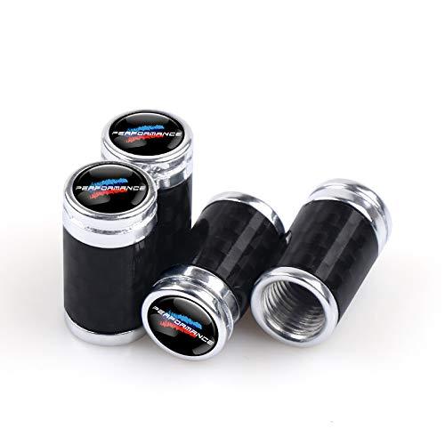 Tapones de válvula de neumático, 4 unidades, fibra de carbono, pegatinas de emblema de metal, tapas de válvula de neumáticos, tapas de vástago (nombre del color: para rendimiento)