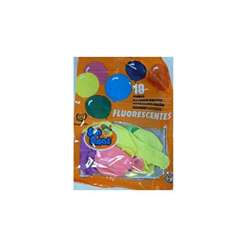 Gran Festival - Bolsa de globos látex 24 cm 10 uds fluorescente