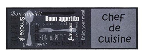 BSM 2000 Tapis de Cuisine, Tapis Devant Evier - 150 x 50 cm, Chef de Cuisine Grey, Antidérapant, Absorbant, Facilement Lavable en Machine 30°, Large Choix de Motifs