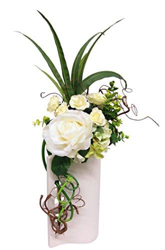Flair Flower Arrangement Rosen in Vase, Stoff, weiß, 55 x 23 x 17 cm