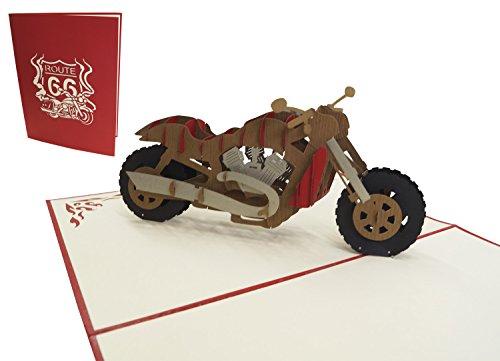 Tarjetas de felicitación Lin Pop Up 3d motocicleta, tarjetas de felicitación Tarjetas de cumpleaños tarjetas de cupones Moto (grande)