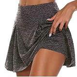 Vestido de Playa para Mujer, Falda de Pantalón de Verano Pantalones Cortos Mini Vestido de Color Sólido (Gris, L)