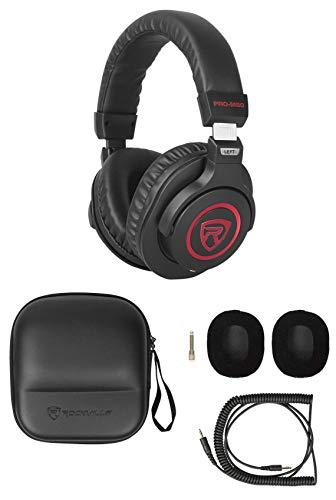 Rockville Studio Headphones+Detachable Coil Cable+Case+Extra Ear Pad, Red (PRO-M50 SR)