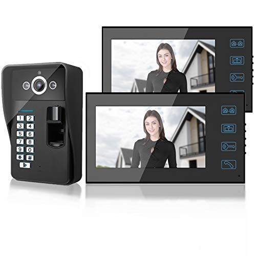 7in kit videocitofono bifamiliare 2 fili, Smart Fingerprint/RFID/Password Doorbell, Citcom Doorbell with 2 Monitor, Wired Campell Access System for Home Security(EU)