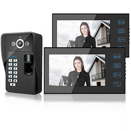 Timbre Inalámbrico para Puerta, Timbre con video de 7 pulgadas, timbre inteligente con huella digital/RFID/contraseña, timbre con intercomunicador con 2 monitores(EU)