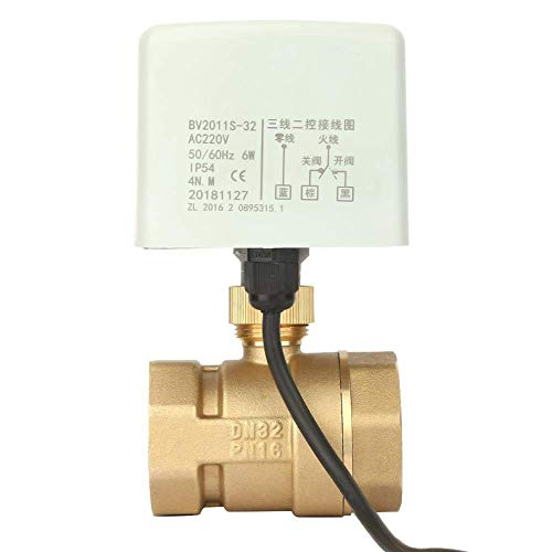 SIMNO JIAHONG Válvulas de Válvula de Bola eléctrica, AC220V DN32 1-1/4'Válvula de Bola eléctrica eléctrica de latón eléctrico de latón de 3 vías