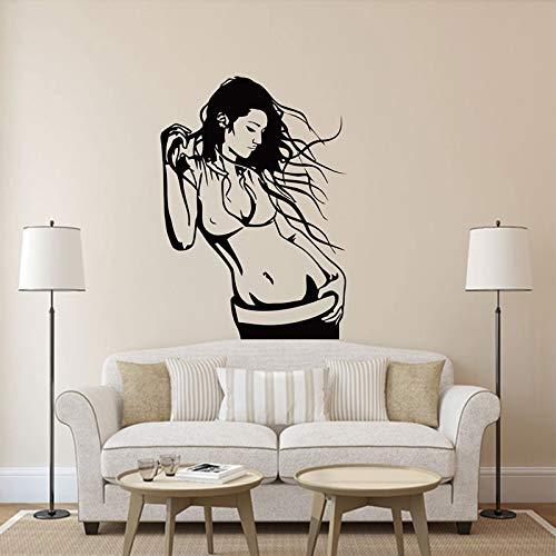 yaonuli Frau hört Musik Badezimmer Schlafzimmer Mädchen Zimmer Vinyl Wandtattoo Home Decoration Tapete 84X115cm