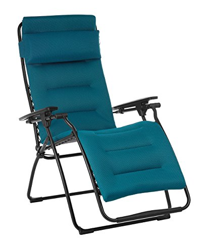 Lafuma Futura Air Comfort Zero Gravity Recliner (Coral Blue) Padded Folding Outdoor Reclining Chair