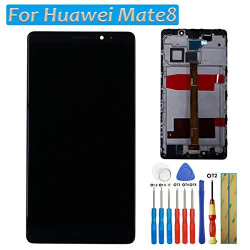 LCD-display touchscreen beeldscherm digitizer voor Huawei Mate 8 scherm zwart glas + lijst + lijm + gereedschappen