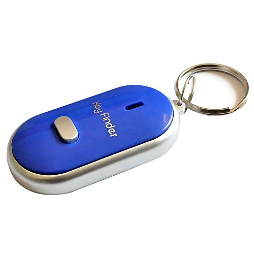 Key Finder, Whistle Key Finder, Locator Key Ring with LED Light, Remote Control by Sound for Keys, Dogs, Cats, Wallets, Even Older People (Blue)