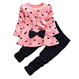 0-3 Years Kids Baby Girls Clothes Cute Heart-Shaped Print Bow Tops T Shirt + Pants Leggings 2Pcs Outfits Sets (Pink, 12-18 Months)