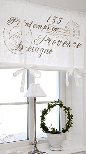 Scheibengardine Raff Gardine Raffrollo Vorhang 'Bretagne' 160 x 100 cm (BxH) weiß mit Stempel Aufdruck in beige sand Baumwolle Landhaus Shabby French Vintage Retro Antik Nostalgie