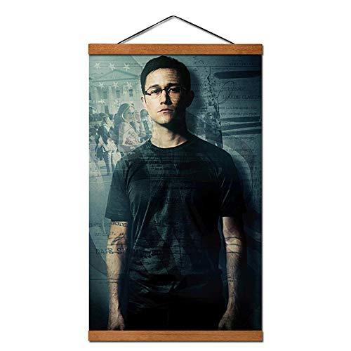 wzgsffs Edward Snowden Poster Hängende Schriftrolle Leinwand Malerei Mit Teakholz Wandkunst Bilder Schlafzimmer Wohnzimmer Wohnkultur -20X32 Zoll Gerahmt