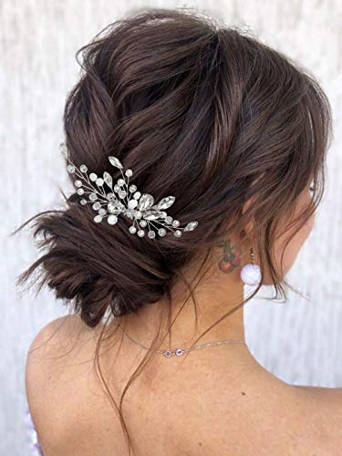 Mayelia Kristall Braut Hochzeit Haarnadel Silber Perle Haarspange Strass Stylist Kopfschmuck für Frauen und Mädchen