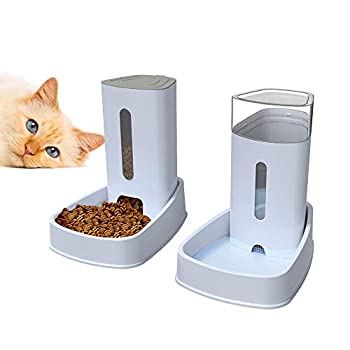 LZDMY Distributeur de Nourriture et d'eau pour Chiens et Chats 2 pièces 3.8Lx2 Mangeoires et abreuvoirs automatiques Fontaine d'eau Accessoires pour Animaux de Compagnie Grand