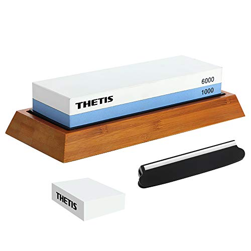 Knife Sharpening Stones, Thetis 1000/6000 Grits Whetstone Set - Knife Sharpener Kit with Non-Slip Bamboo Base, Angle Guide, Flattening Stone & Ebook