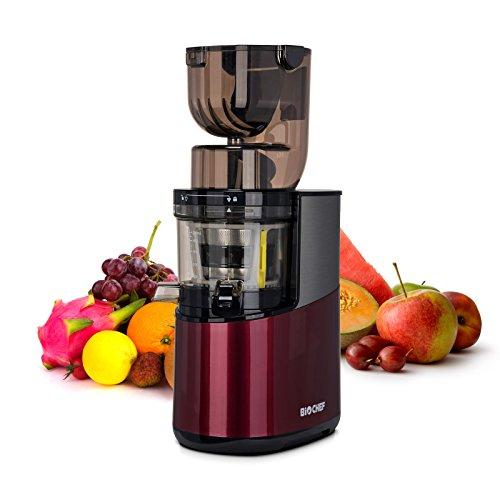 Bio Chef Atlas Whole Slow Juicer Pro – Extractor de zumos, 350W, 40 RPM, Licuadora Prensado en Frío. Garantía de por Vida en el Motor. (Burdeos)