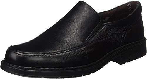 Fluchos | Mocasín de Hombre | Clipper 9578 Cidacos Negro Zapatos Confort | Mocasín de Piel de Ternera de Primera Calidad | Cierre con Elásticos | Piso de Goma Personalizado