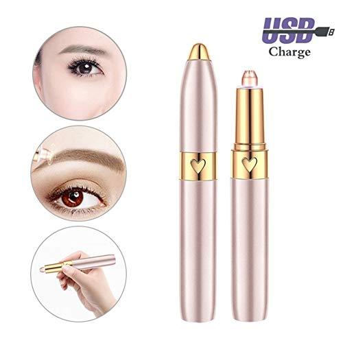 Augenbrauen Rasier Augenbrauenschneider Damen Schmerzloses elektrische Gesichtshaarentferner wiederaufladbare Epilierer tragbare mit LED Licht Rose Gold für Gesicht Lippen Nase USB-Aufladung