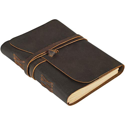 """Leather Journal - Vintage Lined Journal for Women - Leather Notebook Journal for Men - Refillable Journals for Writing - Large Leather Bound Travel Office Diary - Daily Journal to Write In,Brown 7""""x9"""""""