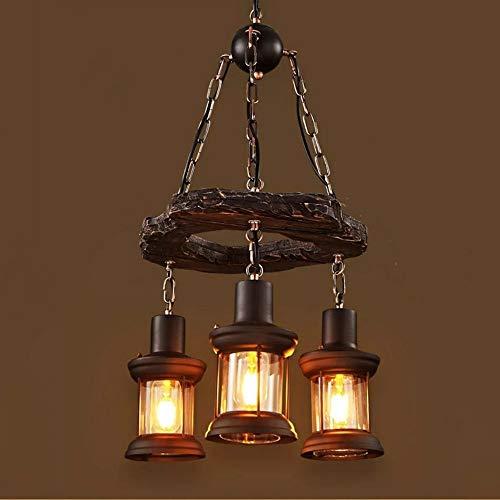 WWFF Lámpara De Araña De Anillo De Hierro Forjado Vintage Americano Tamaño 39 * 100 (cm) Iluminación De Lámpara Cafe Bar Restaurante