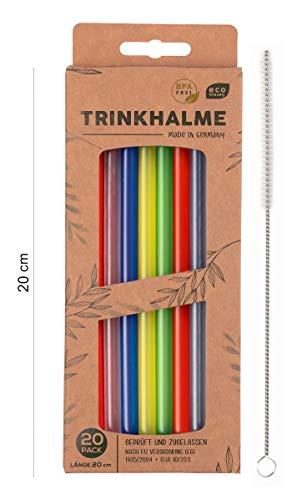 Premium Trinkhalme 20 Stück, 20 cm, made in GERMANY, wiederverwendbar & spülmaschinengeeignet mit Reinigungsbürste (Bunt, 20)
