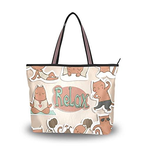 NaiiaN Relax Cat, bolsos de hombro, bolsos de mano, bolso ligero con correa, compras para madres, mujeres, niñas, señoras, bolso de mano para estudiantes