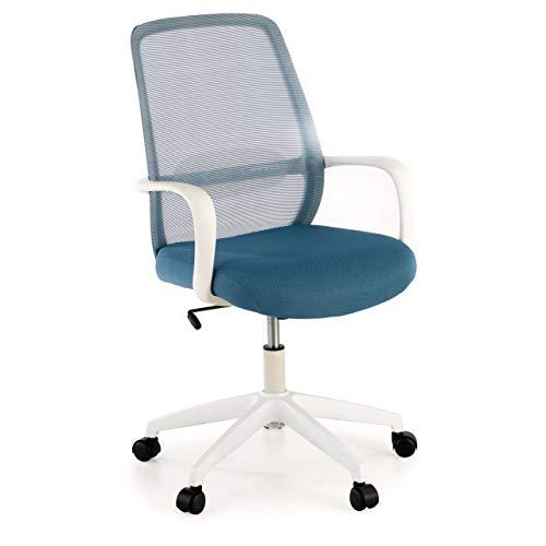 Ofiprix Silla Point Silla giratoria de Oficina Silla de Escritorio de Malla Respaldo Transpirable Mecanismo sincronizado Estructura Blanca Color Azul