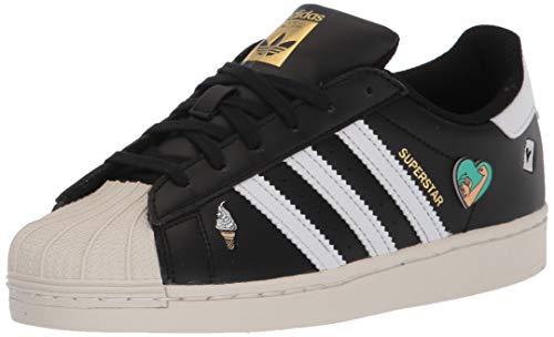 adidas Originals unisex child Superstar Sneaker, Black/White/Chalk White, 7 Big Kid US
