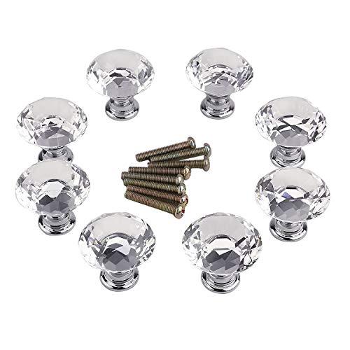 Surepromise 8X Möbelknöpfe Möbelknopf Kristallglas 30mm Klar Rund Zinklegierung Schrankknöpfe Schubladenknöpfe für Küche, Büro, Bad-, Wohn-, Schlaf-, Kinderzimmer