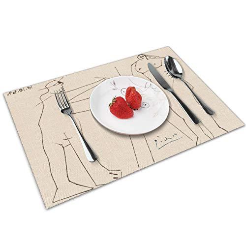 Genertic Tischsets, rutschfest, für Esstisch, Pablo Picasso, Kubismus, weltberühmte Gemälde, waschbar, leicht zu reinigen, 30 x 45 cm, rechteckig, schmutzabweisend, langlebig