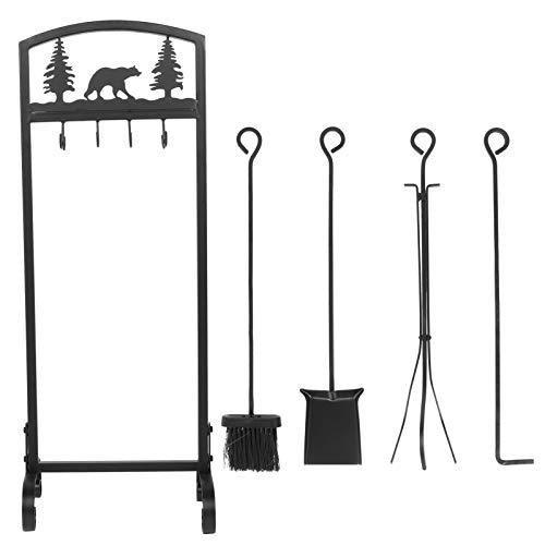 5Pcs / Set Kamin Werkzeuge Kaminbesteck Indoor Schmiedeeisen Kamin Garnitur Set mit Kaminbürste Schürhaken Kaminschaufel Kaminholzzange