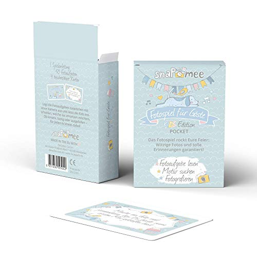 Fotospiel Kinder Partyspiel Geburtstag | snaPmee Pocket | 50 Fotoaufgaben | Spiel ab 6 Jahren | Drinnen & Outdoor | Mädchen Jungen Geburtstagsparty Feier