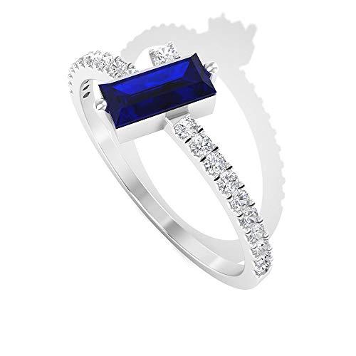Anillo de zafiro azul con forma de baguette de 0,42 quilates, anillo de boda de diamante certificado SGL de 0,17 quilates, 14K Oro amarillo, Size:EU 61