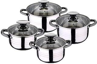 San Ignacio Bateria de Cocina 8 Piezas-Acero Inoxidable-Tapas de Vidrio-Apta para inducción-Colección Hita, Ø16 Ø18 Ø20 y Ø24 cms